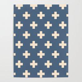 Swiss Cross Blue Poster