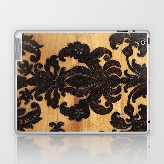 Wood Burnt Damask Laptop & iPad Skin
