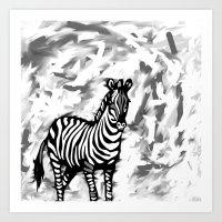 ZEBRA BLACK AND WHITE Art Print