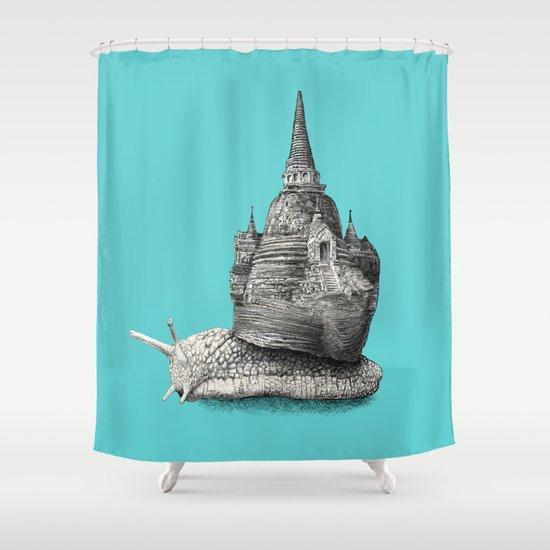 The Snail's Dream (monochrome option) Shower Curtain