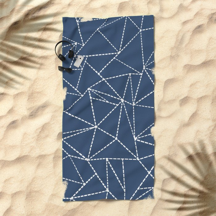 Ab Dotted Lines Navy Beach Towel