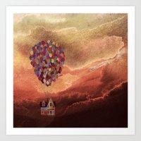 pixar Art Prints featuring Pixar Up! in the Clouds by foreverwars