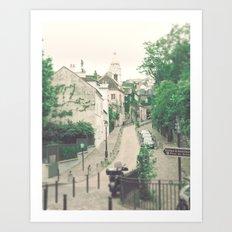Paris - Montmartre - Architecture - beige, cream, white, grey - Parisian street Art Print