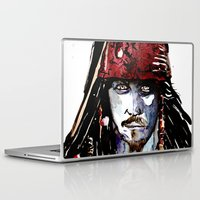 jack sparrow Laptop & iPad Skins featuring Captain Jack Sparrow - Johnny Depp Watercolor by Siriusreno