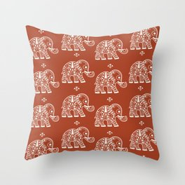 Elephant on Red Throw Pillow