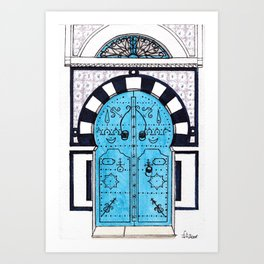 Blue Door in Sidi Bou Said with tiles Art Print