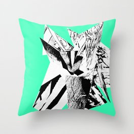 Green Glitch Scrunch Throw Pillow