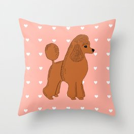 Red Apricot Poodle with Peach Pink & Hearts Throw Pillow