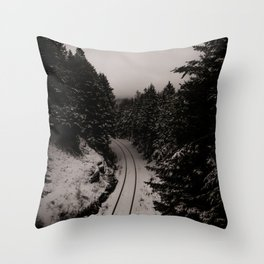 Snow covered tracks Throw Pillow