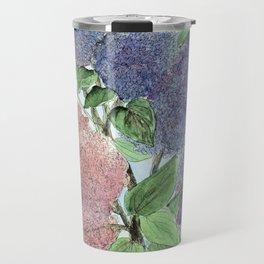 Lilacs and Bees Watercolor Painting Travel Mug