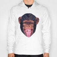 low poly Hoodies featuring Chimpanzee low poly by Angel Decuir