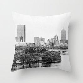 Black & White Boston Skyline III Throw Pillow