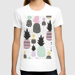 Summer pineapples in pastel color pop T-shirt