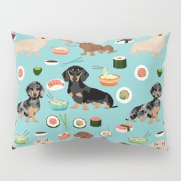 dachshund sushi multi coat doxie dog breed cute pattern gifts Pillow Sham