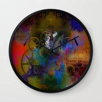 steam punk Wall Clocks featuring Steam Punk by Tami Cudahy