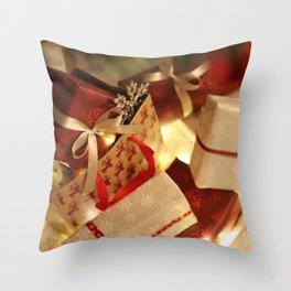 Christmas Photography - Presents Falling Throw Pillow