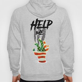 """HELP ME"" American Flag Zombie/scary Movie Gag Gift funny Hoody"