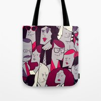 rocky horror Tote Bags featuring The Rocky Horror Picture Show by Ale Giorgini