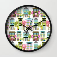karen hallion Wall Clocks featuring Boutiques and Downtown Buildings by Karen Fields by Karen Fields Design