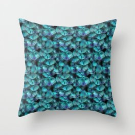 Isis Blue Feather Pattern Throw Pillow