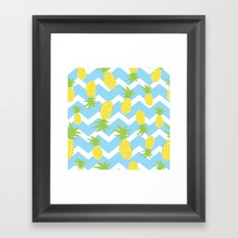 Blue Pineapple Pattern Framed Art Print