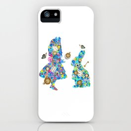 Colorful Watercolor Alice & The Rabbit - Wonderland Time iPhone Case