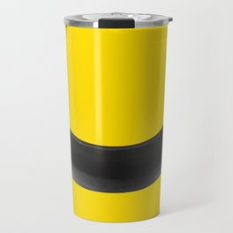 Pop art Black banan on yellow background  Travel Mug