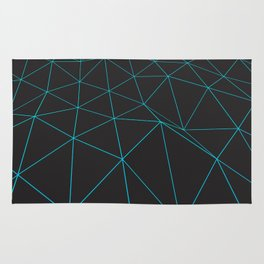 Dark low poly displaced surface with glowing lines Rug