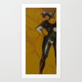 Pencil, Biro and Acrylic Woman Art Print