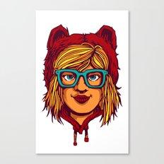 Nerdy bear girl Canvas Print