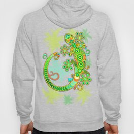 Gecko Lizard Colorful Tattoo Style Hoody