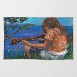 Playing ukulele Rug