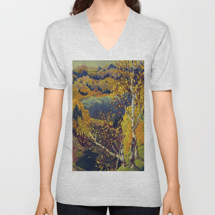 Franklin Carmichael Canadian artist Art Nouveau Post-Impressionism October Gold Unisex V-Neck