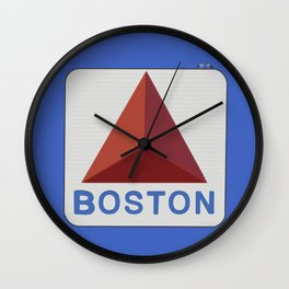 Boston Skyline Blue Wall Clock