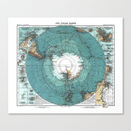 Antarctica Vintage map Canvas Print