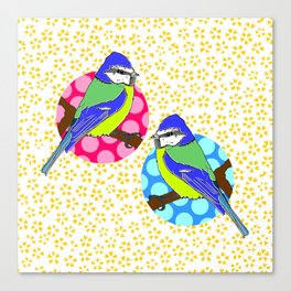 Blue Tits on White and Mustard Yellow Floral Pattern Canvas Print