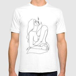 kissing Naked Sensual Lesbian one line art T-shirt