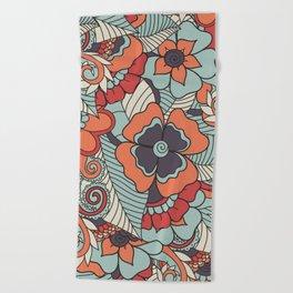 Colorful Vintage Floral Pattern Beach Towel