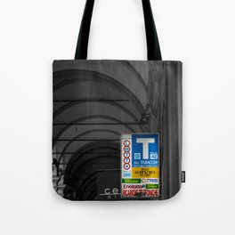 Blue Tabacchi Lotto Bologna Sign Black and White Photography Tote Bag