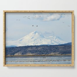 Mt Shasta and Waterfowl Serving Tray