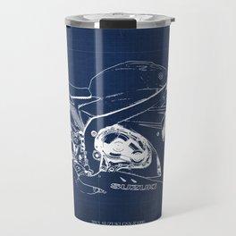23-2013 Suzuki GSX-R1000 BLUE, Motorcycle blueprint Travel Mug