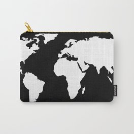World Map White on Black Carry-All Pouch