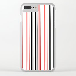 red black and white abstract striped pattern Clear iPhone Case