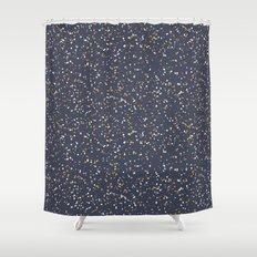 Speckles I: Dark Gold & Snow on Blue Vortex Shower Curtain