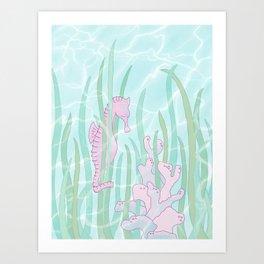Sleepy Seahorse Art Print