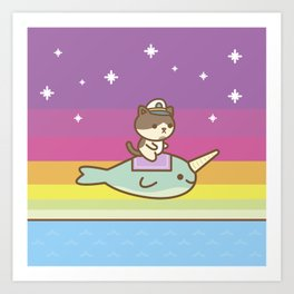 Admiral Whiskers Magical Narwhal Ride Art Print