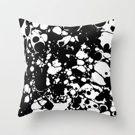 Black and white contrast ink spilled paint mess Throw Pillow