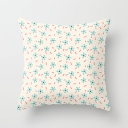 Simple Mint Florals Throw Pillow
