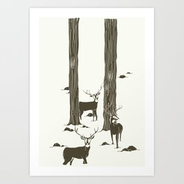 bucks in the snow Art Print