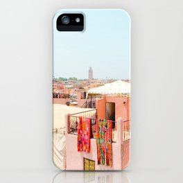 Marrakesh, Morocco's Pink Medina Buildings from Above iPhone Case